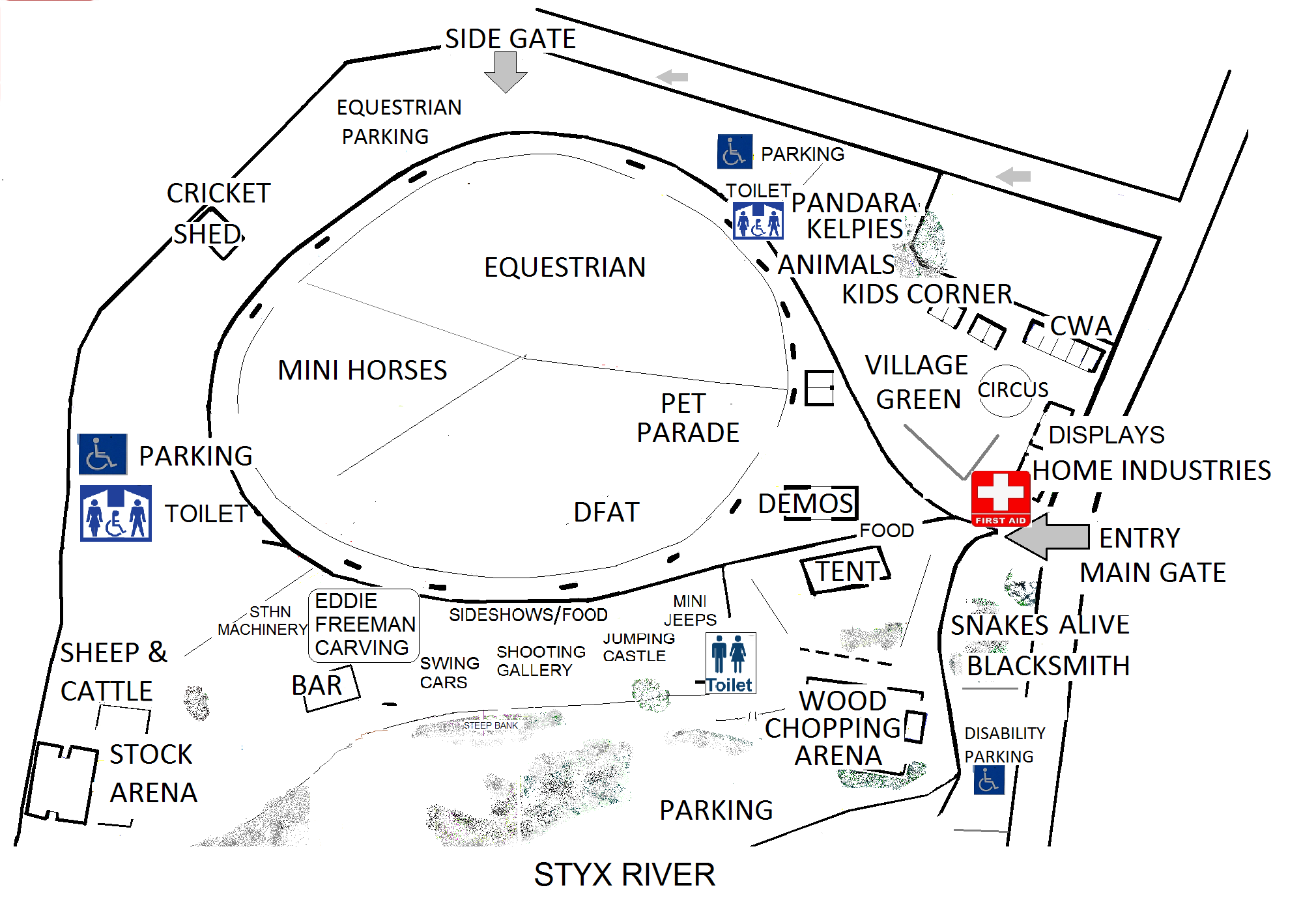 map of the Bushy Park Show grounds